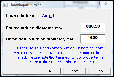 Homologous turbine, turbine diameter shown from Alab